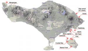 карта дайв сайтов Бали